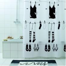 Штора для ванной 180х200 Rue de Papillion черн.